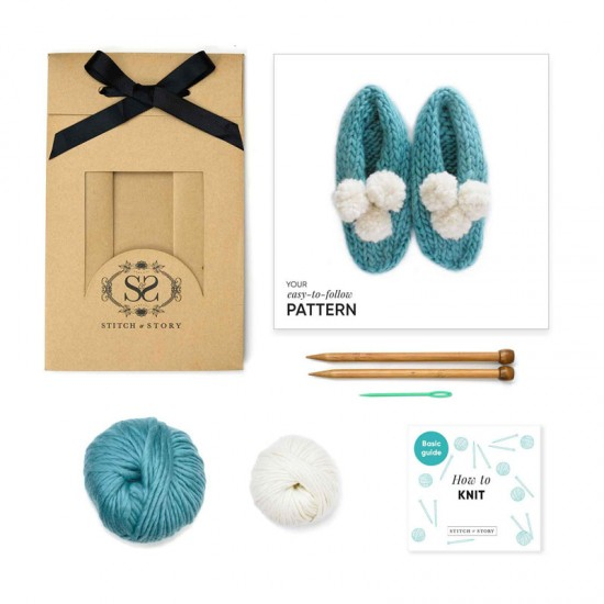 Stitch and Story - Lola pom slippers knitting kit